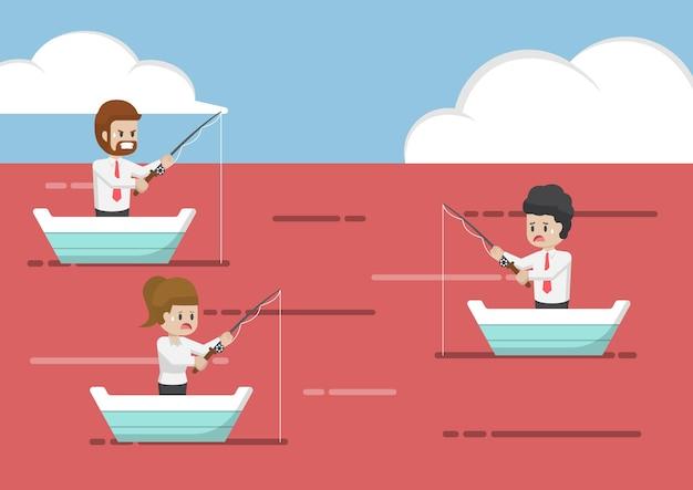 Geschäftsleute, die im roten ozean fischen. geschäftsstrategie und wettbewerbskonzept.