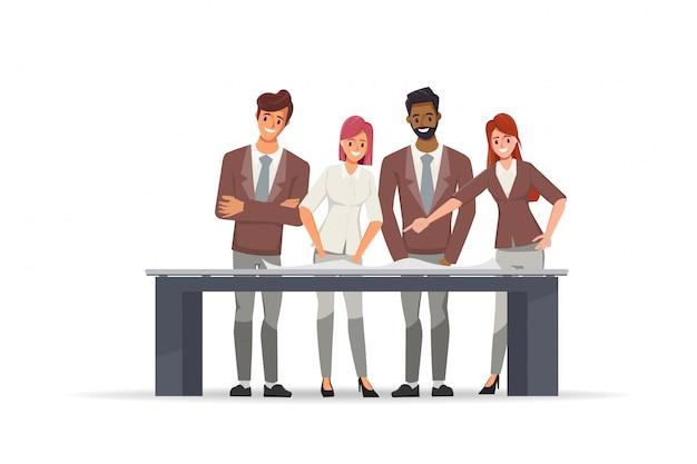 Geschäftsleute, die im teamwork-brainstroming-charakter arbeiten.