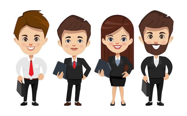 Geschäftsleute, die im teamwork-charakter arbeiten.