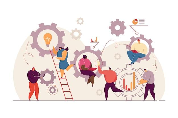 Geschäftsleute, die in der flachen illustration des teams zusammenarbeiten