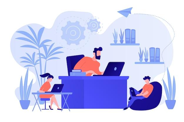 Geschäftsleute, die in einem modernen umweltfreundlichen büro mit pflanzen und blumen arbeiten. biophiler designraum, umweltfreundlicher arbeitsbereich, grünes bürokonzept. isolierte illustration des rosa korallenblauvektors