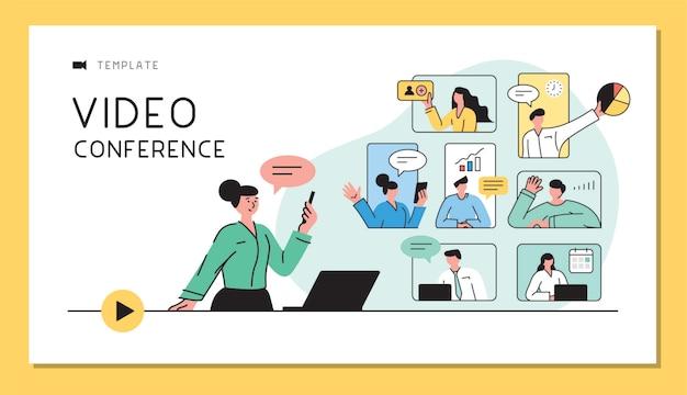 Geschäftsleute, die in live-videokommunikation sprechen