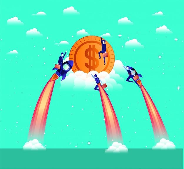 Geschäftsleute, die in raketen fliegen, beginnen mit münzen