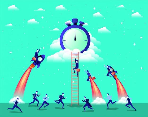 Geschäftsleute, die in raketen fliegen, starten mit einem chronometer