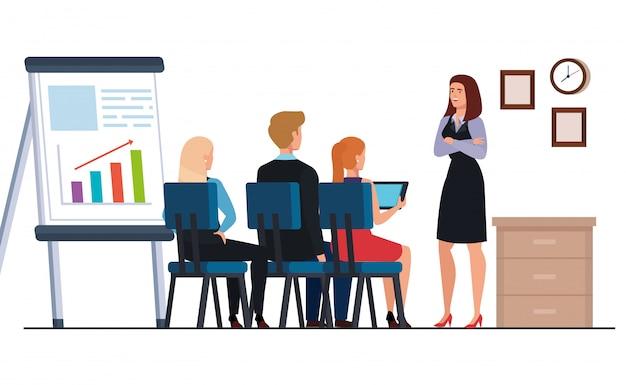 Geschäftsleute, die infographics darstellung an arbeitsplatz treffen