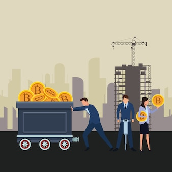 Geschäftsleute, die kryptowährung halten