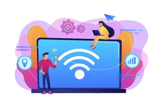 Geschäftsleute, die laptop und smartphone mit wifi-verbindung verwenden. wi-fi-verbindung, wifi-kommunikationstechnologie, kostenloses internet-service-konzept. helle lebendige violette isolierte illustration