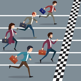 Geschäftsleute, die marathon gewinnen. geschäftssport, erfolgsmarathonwettbewerb, geschäftsziel