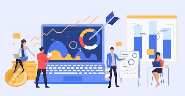 Geschäftsleute, die marketingberichte analysieren