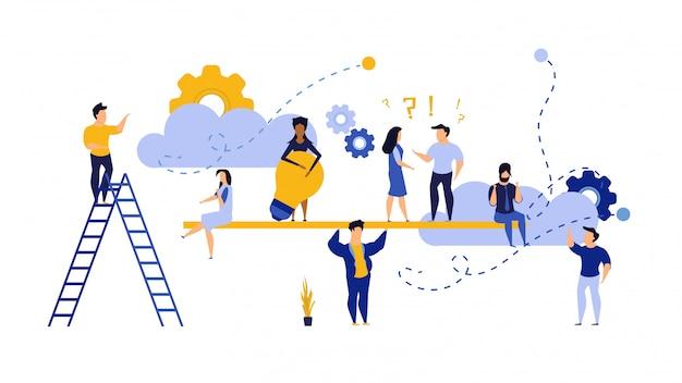 Geschäftsleute, die mit dem himmel auf hintergrund arbeiten