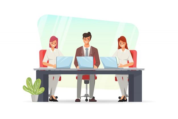 Geschäftsleute, die mit einem laptop arbeiten. teamwork charaktergruppe.