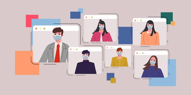 Geschäftsleute, die mit horizontaler vektorillustration des videoanrufkonferenzkonzeptporträts zusammenarbeiten.