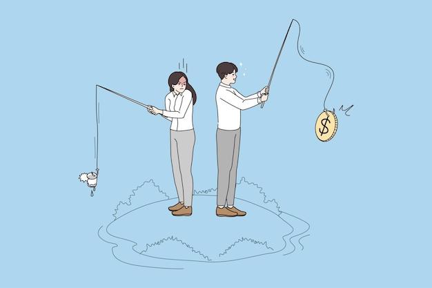 Geschäftsleute, die mit ruten auf geldwert fischen