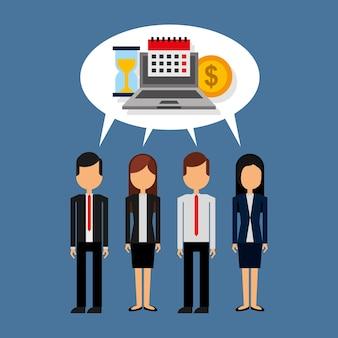Geschäftsleute, die mit spracheblasen- und laptopgeld-uhrkalender stehen