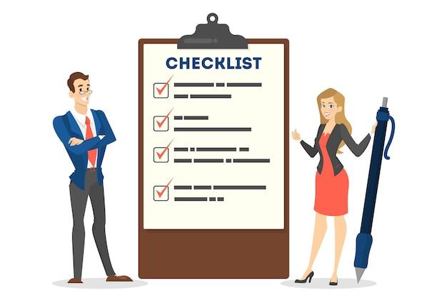 Geschäftsleute, die mit stift an der riesigen checkliste stehen. planen sie auf dem papierblatt. geschäftsmann und geschäftsfrau an der zwischenablage. isolierte vektorillustration im karikaturstil