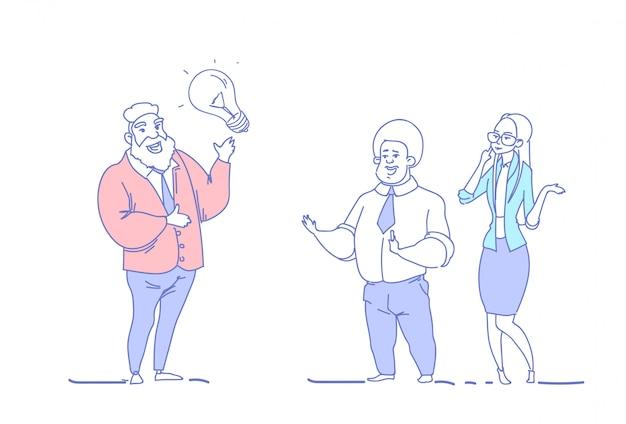Geschäftsleute, die neue ideeninnovation der inspiration gedanklich lösen
