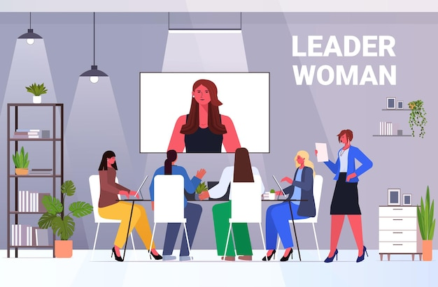 Geschäftsleute, die online-konferenztreffen-geschäftsfrauen haben, die mit führerfrau während des videoanruf-büroinnenraums horizontale vektorillustration in voller länge diskutieren