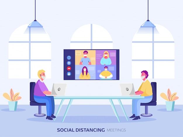 Geschäftsleute, die online-treffen mit seinem team am arbeitsplatz haben, um soziale distanz aufrechtzuerhalten.