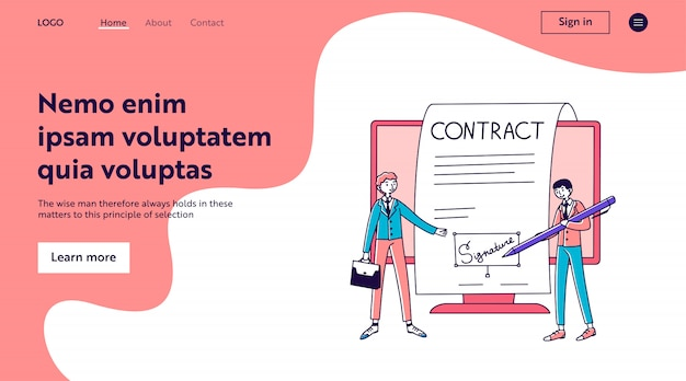 Geschäftsleute, die online-vertrag mit elektronischer unterschrift unterzeichnen