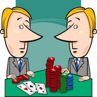 Geschäftsleute, die poker-cartoon spielen