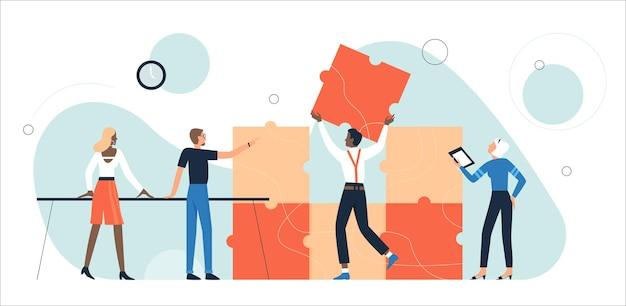 Geschäftsleute, die puzzleteile zusammen sammeln, bilden eine puzzle-puzzle-zusammenarbeit