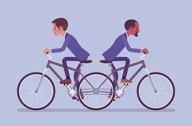 Geschäftsleute, die reiten, schieben mich, ziehen sie tandemfahrrad