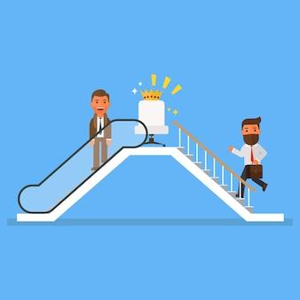 Geschäftsleute, die rolltreppe zum erfolg benutzen