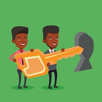 Geschäftsleute, die schlüssel vor schlüsselloch halten.