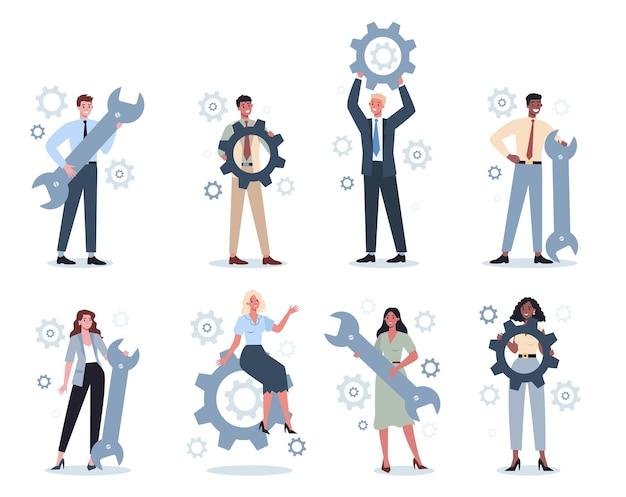 Geschäftsleute, die schraubenschlüssel und zahnradsatz halten. idee eines büroangestellten, der produktiv arbeitet und sich dem erfolg nähert. partnerschaft und zusammenarbeit. abstrakt