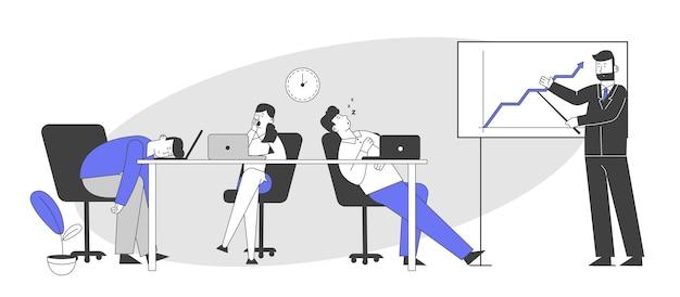 Geschäftsleute, die sich bei besprechungen oder präsentationen langweilen