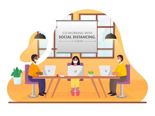 Geschäftsleute, die soziale distanz während der gemeinsamen arbeit am arbeitsplatz auf abstraktem hintergrund für das vermeiden von coronavirus aufrechterhalten.