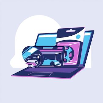 Geschäftsleute, die spielzeug auf e-commerce-web-shopping wählen