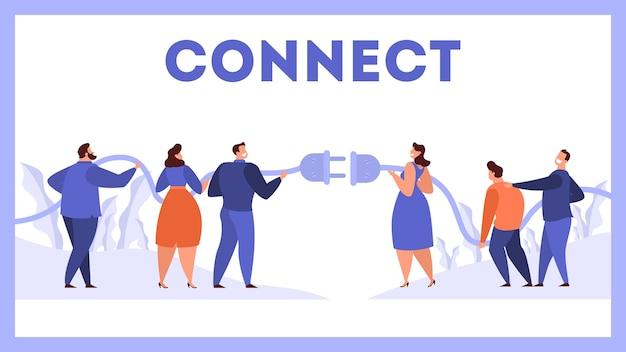 Geschäftsleute, die stecker und buchse halten. idee der verbindung und teamarbeit. zusammenarbeit zwischen arbeitnehmer und partnerschaft. illustration