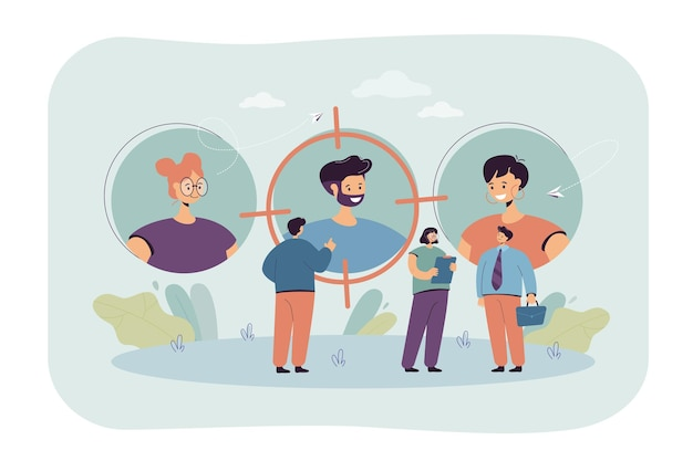 Geschäftsleute, die stellenbewerber finden. auf der suche nach mitarbeitern mit talentierter flacher illustration