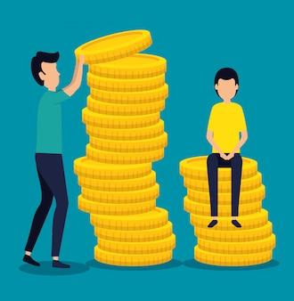Geschäftsleute, die teamarbeit mit münzen