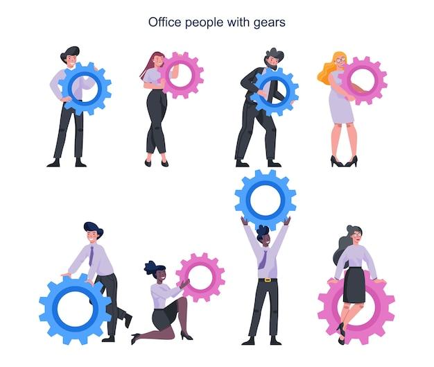 Geschäftsleute, die technologische ausrüstung halten. idee eines büroangestellten, der produktiv arbeitet und sich dem erfolg nähert. partnerschaft und zusammenarbeit. abstrakt