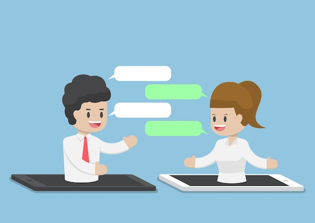 Geschäftsleute, die über smartphone oder tablet, internet-geschäftskommunikationskonzept chatten
