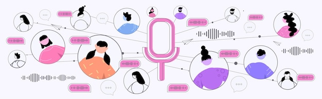 Geschäftsleute, die über sprachnachrichten kommunizieren audio-chat-anwendung social media online