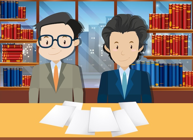 Geschäftsleute, die vereinbarung im amt treffen