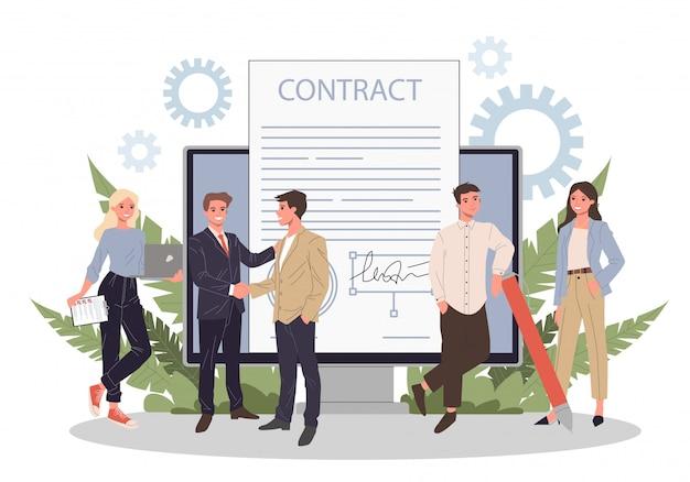 Geschäftsleute, die vertrag mit elektronischer unterschrift unterzeichnen