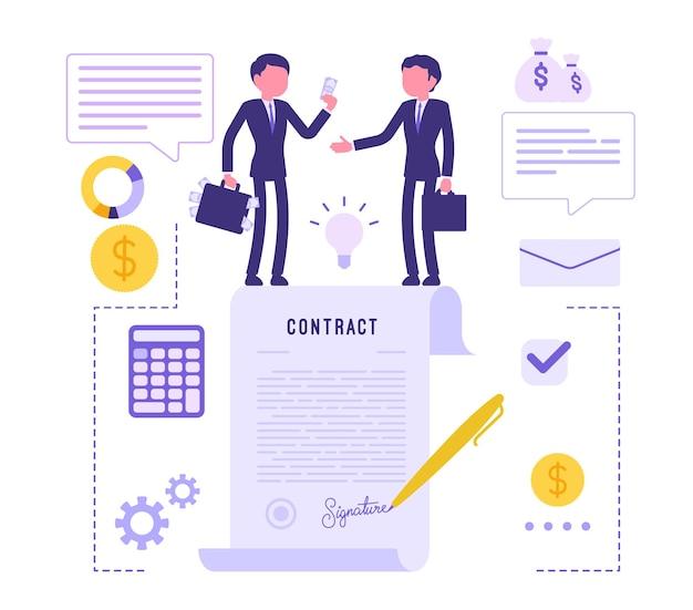 Geschäftsleute, die vertragsvereinbarungen treffen