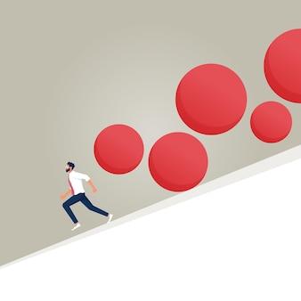 Geschäftsleute, die vor fallenden felsen weglaufen geschäftsrisiko- und krisenvektorkonzept