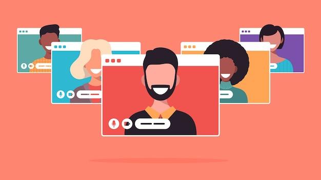 Geschäftsleute, die während des videoanrufs chatten. online-konferenzkonzept für computerfensterkommunikation