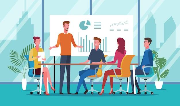 Geschäftsleute, die während eines meetings im büro zusammen im konferenzraum diskutieren
