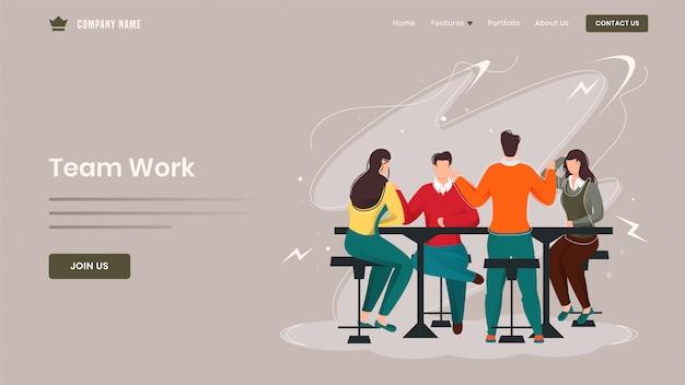 Geschäftsleute, die zusammen an arbeitsplatz für teamwork-basierte landingpage arbeiten.