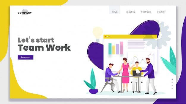 Geschäftsleute, die zusammen an arbeitsplatz mit infographic on-line-darstellung für teamwork-basierte landingpage arbeiten.