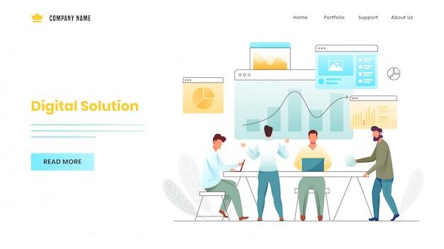 Geschäftsleute, die zusammen an arbeitsplatz mit unterschiedlicher infographics website für digital solution-basierte landingpage arbeiten.