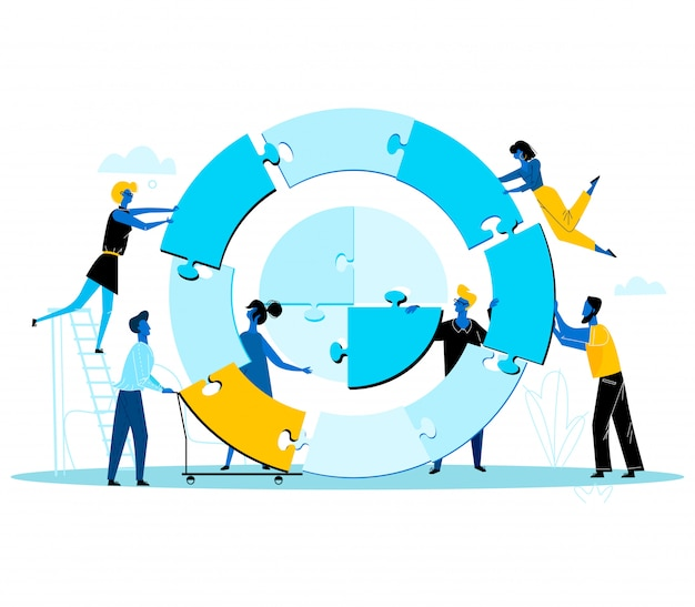 Geschäftsleute, die zusammen enormes rundes puzzlespiel getrennt auf stücken errichten