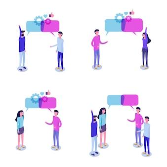 Geschäftsleute diskutieren isometrisches konzept des sozialen netzwerks, nachrichten, chat, dialog-sprechblasen.