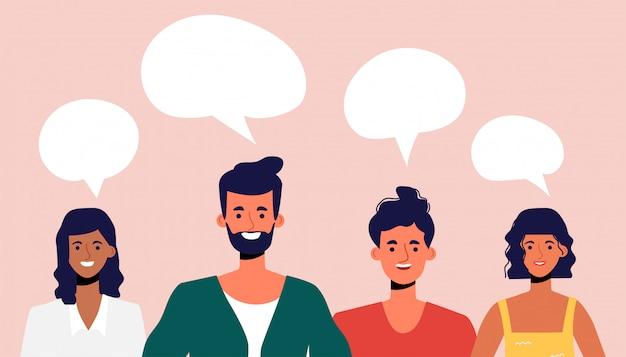 Geschäftsleute diskutieren. mann und frau sprechen in den sozialen medien.